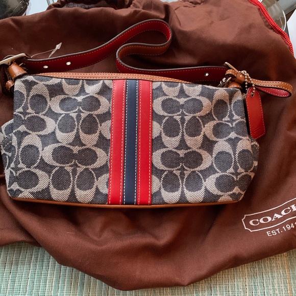 Denim blue and white/tan Coach monogram purse